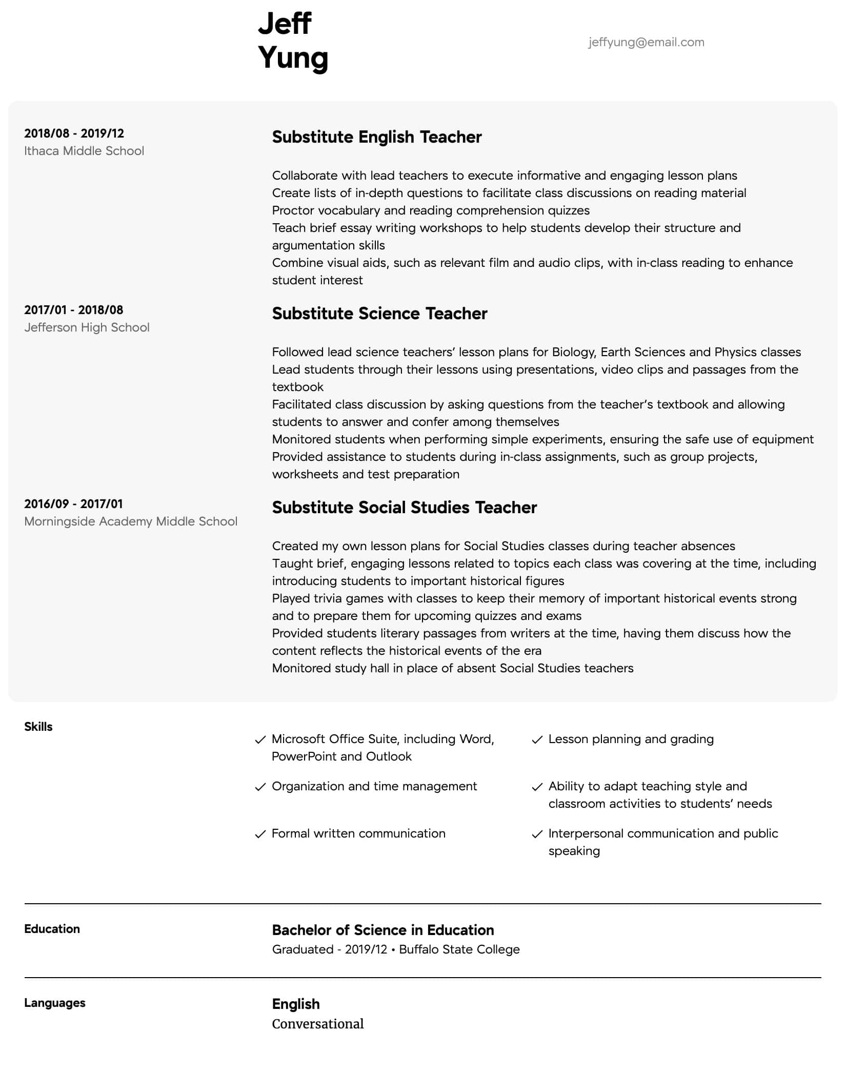 substitute teacher resume samples all experience levels sample middle school intermediate Resume Sample Middle School Resume