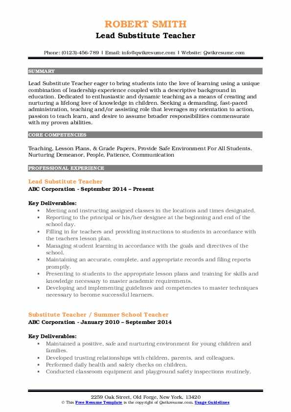 substitute teacher resume samples qwikresume experience on pdf current format social Resume Substitute Teacher Experience On Resume
