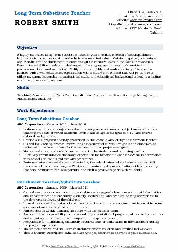 substitute teacher resume samples qwikresume objective pdf best examples professional Resume Substitute Teacher Resume Objective