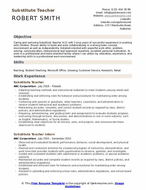 substitute teacher resume samples qwikresume objective pdf clinique consultant Resume Substitute Teacher Resume Objective