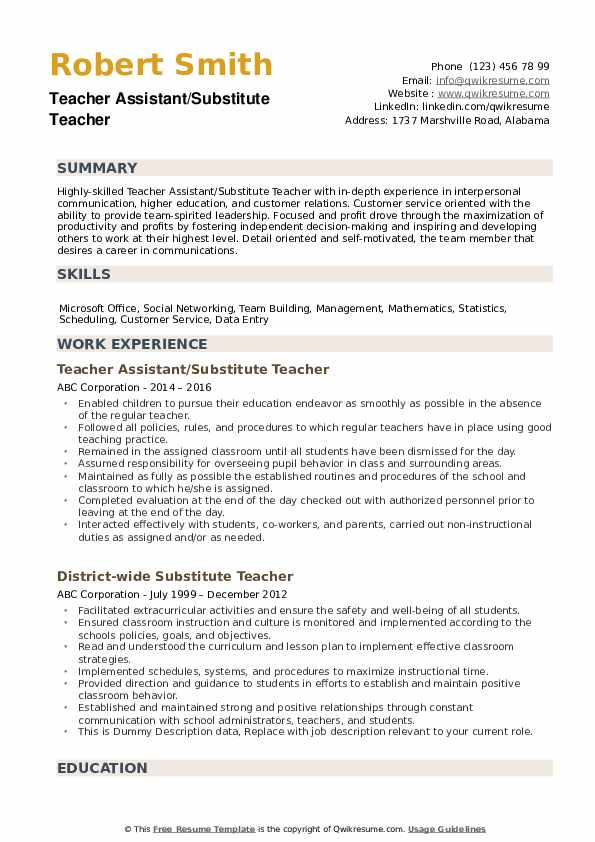 substitute teacher resume samples qwikresume objective pdf statement examples for Resume Substitute Teacher Resume Objective