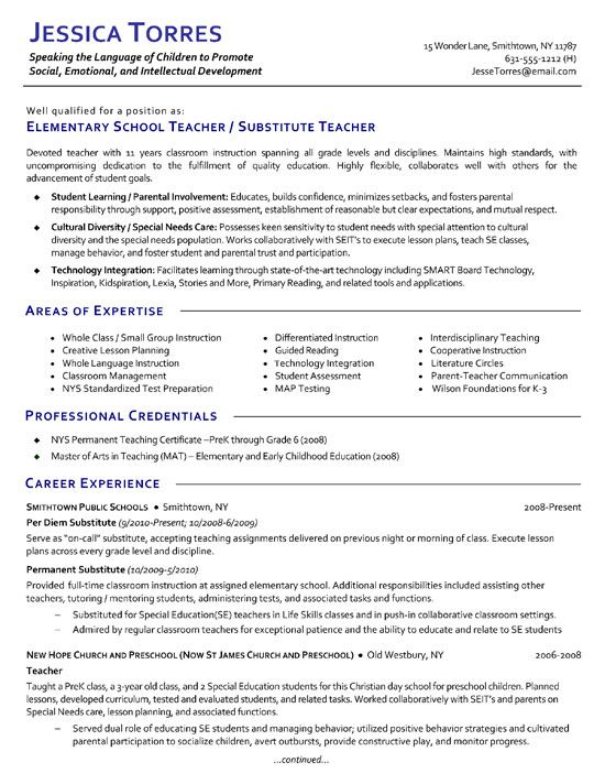 substitute teacher resume template examples elementary objective professional legal Resume Substitute Teacher Resume Objective