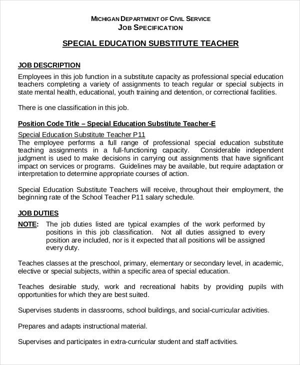 substitute teacher resume templates pdf free premium objective special education in Resume Substitute Teacher Resume Objective