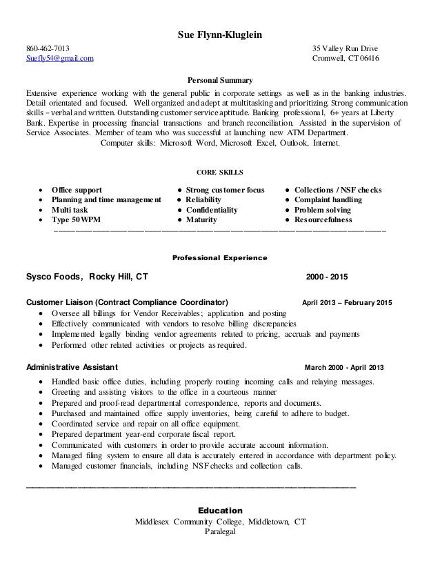 sue kluglein clerical resume experience on training examples rbt food and beverage Resume Clerical Experience On Resume