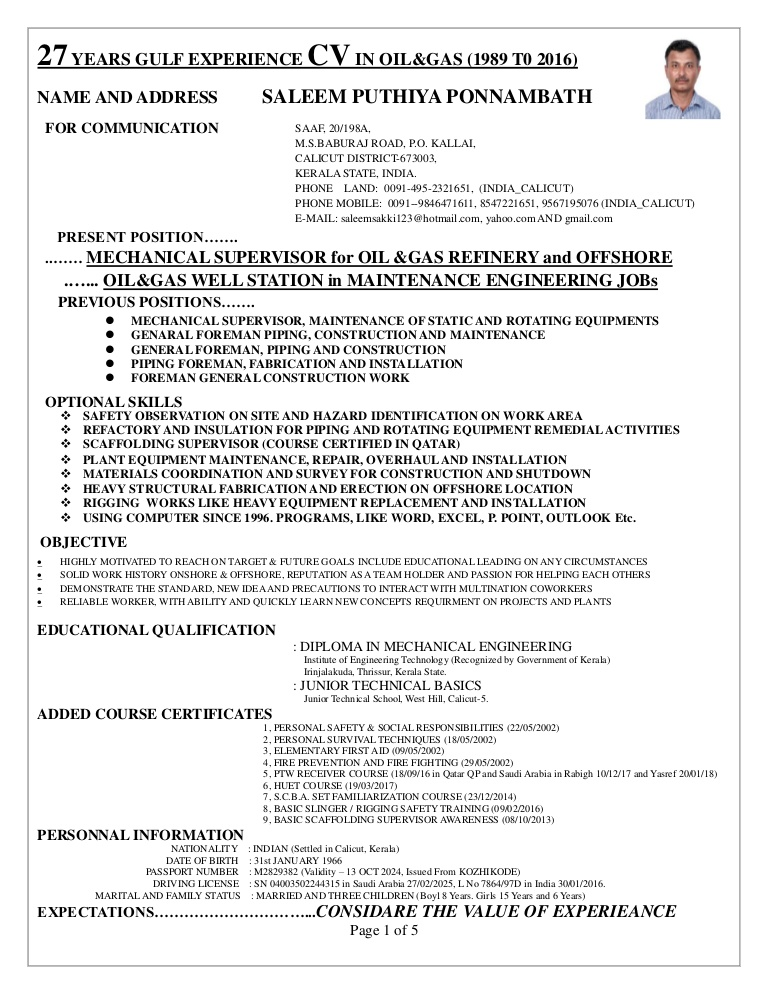 supervisor cv for onshore and offshore mechanical mantenance const experience resume Resume Offshore Experience Resume