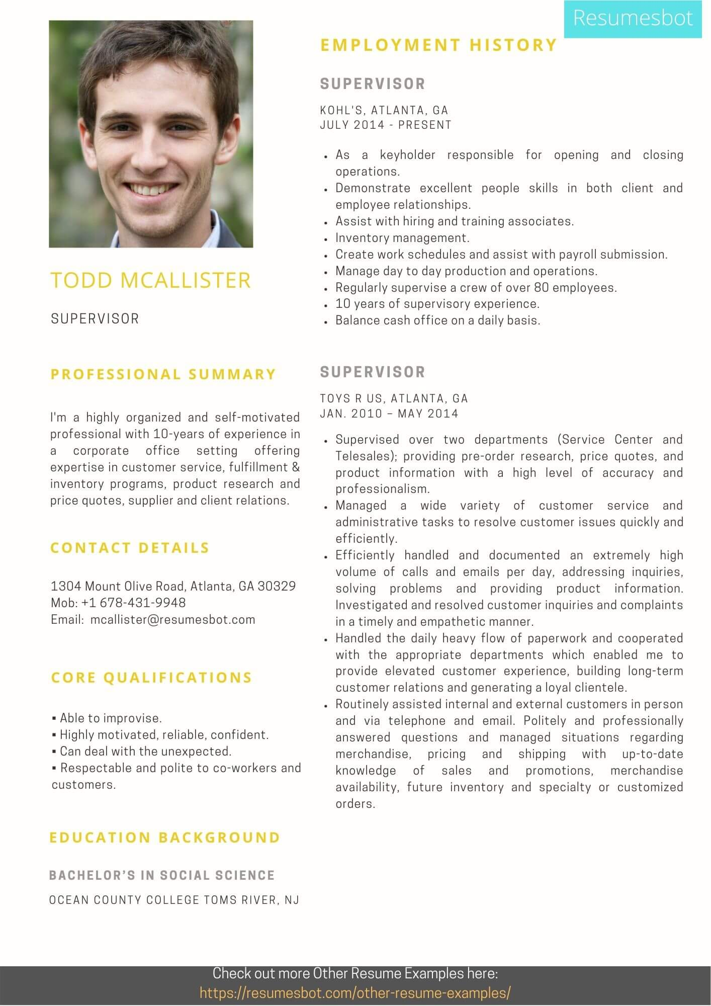 supervisor resume samples and tips pdf resumes bot objective example college format press Resume Supervisor Resume Objective Samples