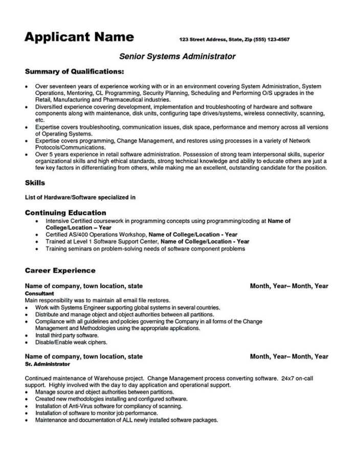 system administrator resume includes snapshot of the skills both technical and sample for Resume System Administrator Resume Sample