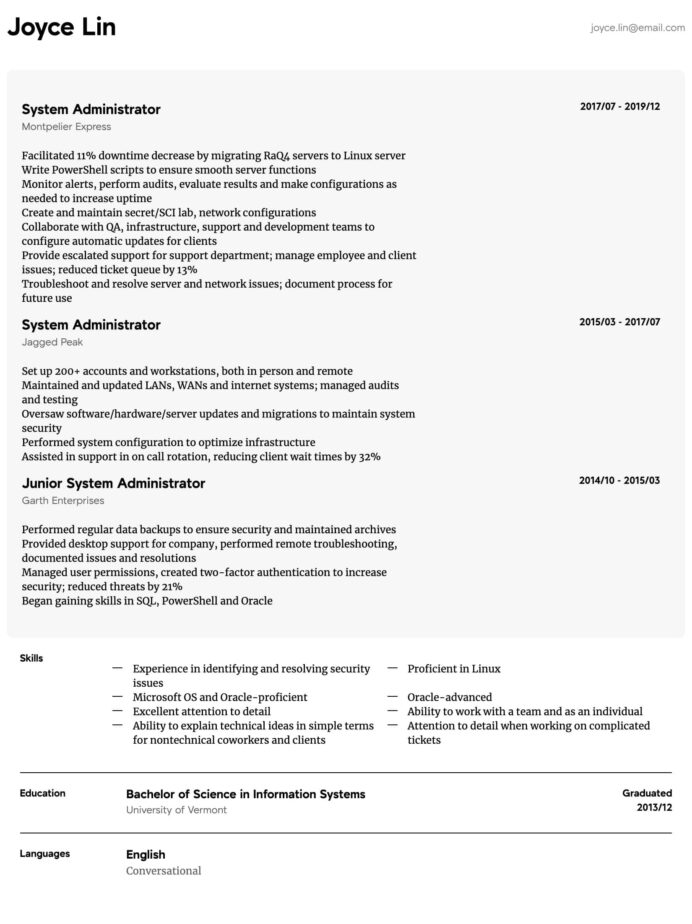 system administrator resume samples all experience levels admin format intermediate Resume System Admin Resume Format