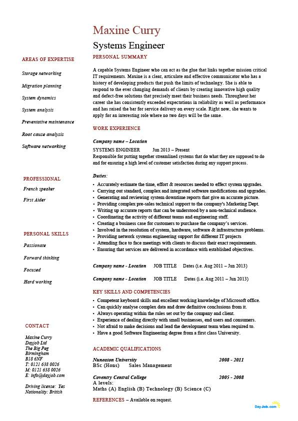 systems engineer resume example sample it security future potential employers work jobs Resume System Engineer Resume Format