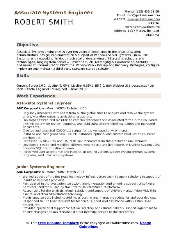 systems engineer resume samples qwikresume system format pdf free downloadable templates Resume System Engineer Resume Format