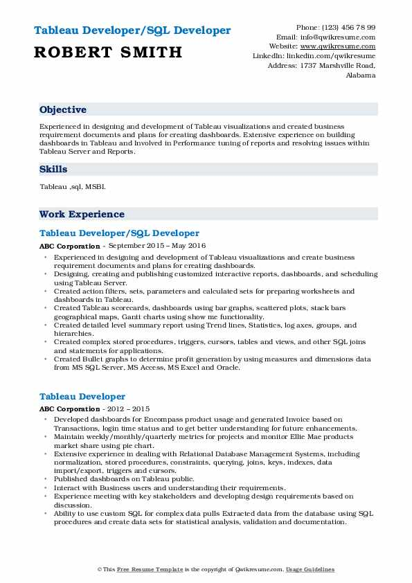 tableau developer resume samples qwikresume pdf maintenance worker example security Resume Tableau Resume Download