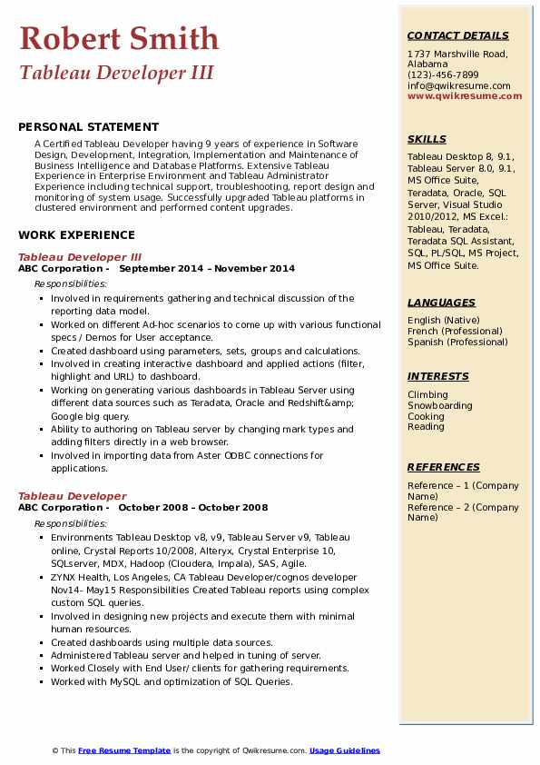 tableau developer resume samples qwikresume pdf senior executive examples project Resume Tableau Resume Download