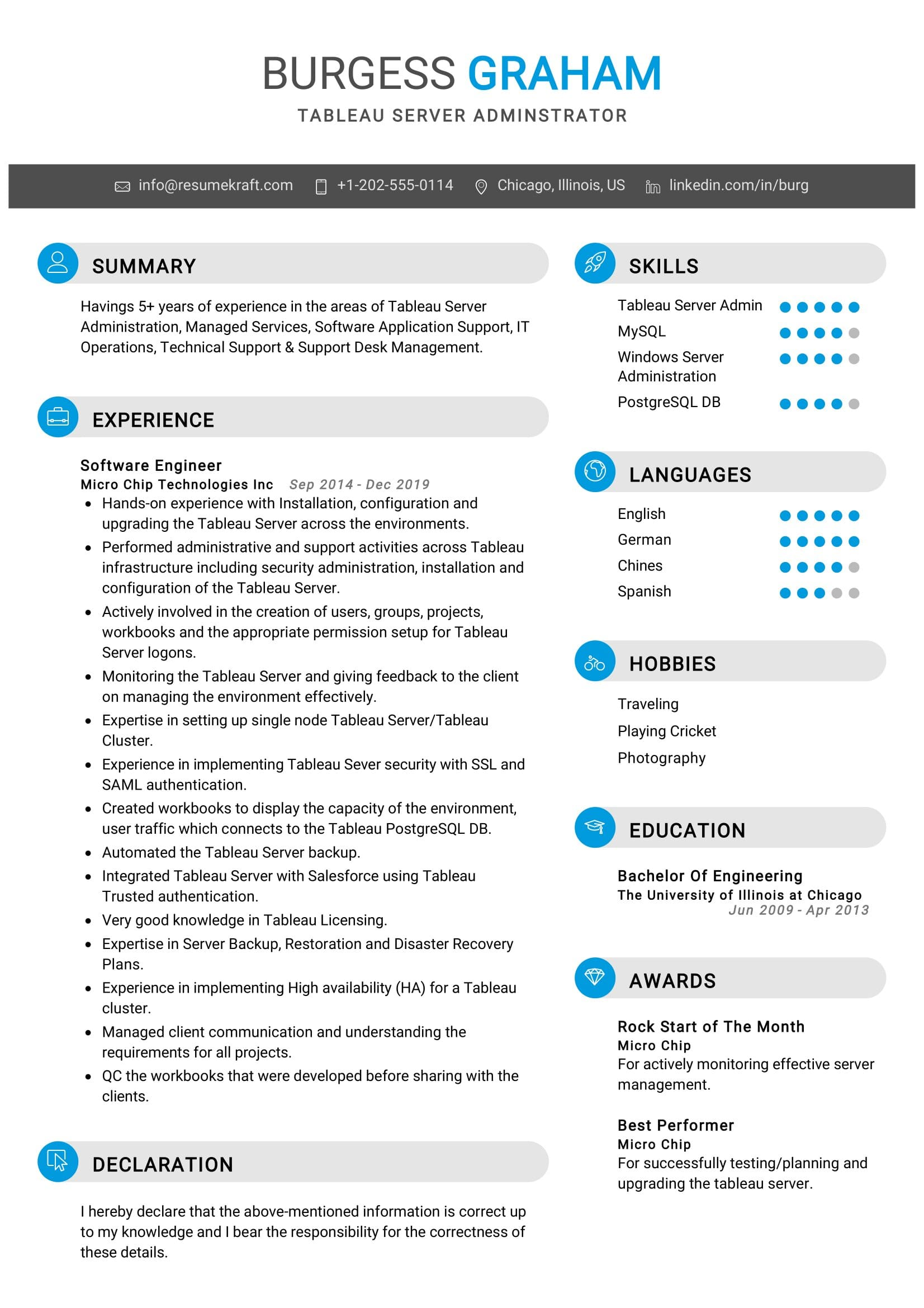 tableau server administrator resume sample resumekraft mentoring experience on medical Resume Tableau Resume Download