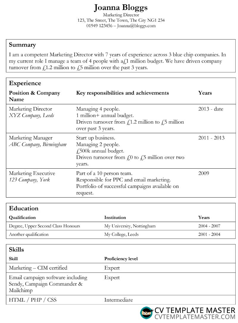 tables cv template alternative version ms word to write resume qualification format high Resume Resume Qualification Format