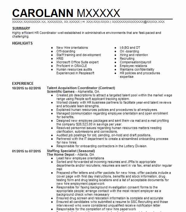 talent acquisition coordinator resume example kronos inc boston scientific corporation Resume Talent Acquisition Coordinator Resume