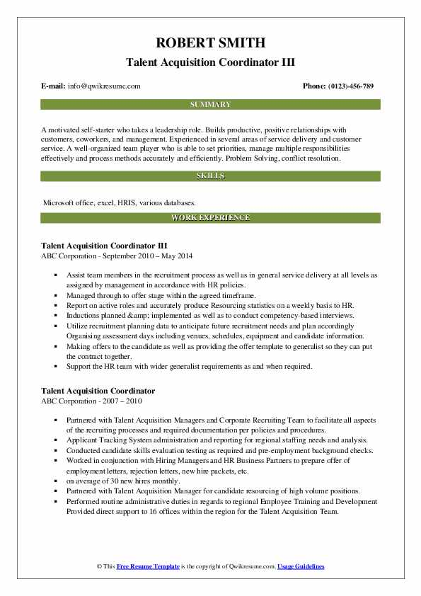 talent acquisition coordinator resume samples qwikresume pdf catering costco front end Resume Talent Acquisition Coordinator Resume