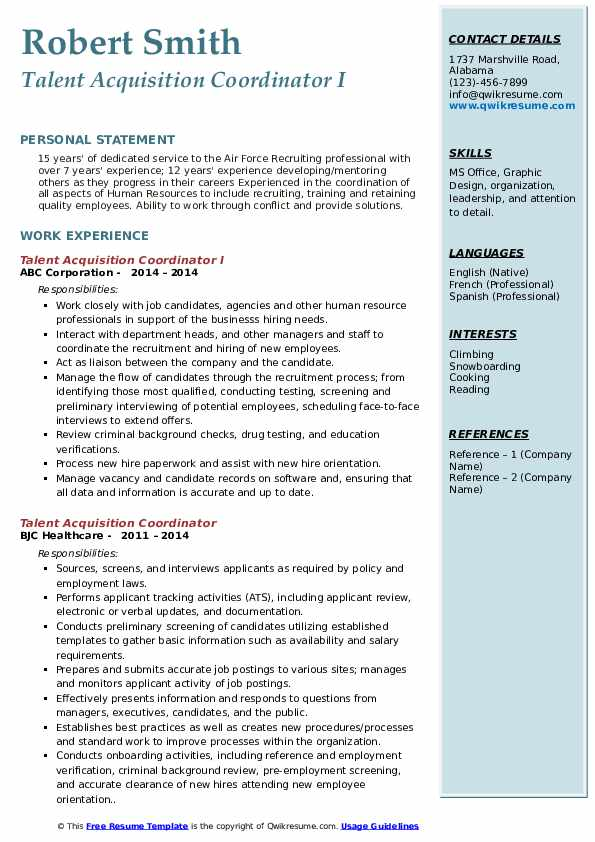 talent acquisition coordinator resume samples qwikresume pdf customer service core Resume Talent Acquisition Coordinator Resume