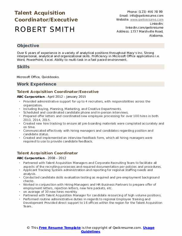 talent acquisition coordinator resume samples qwikresume pdf good professional template Resume Talent Acquisition Coordinator Resume