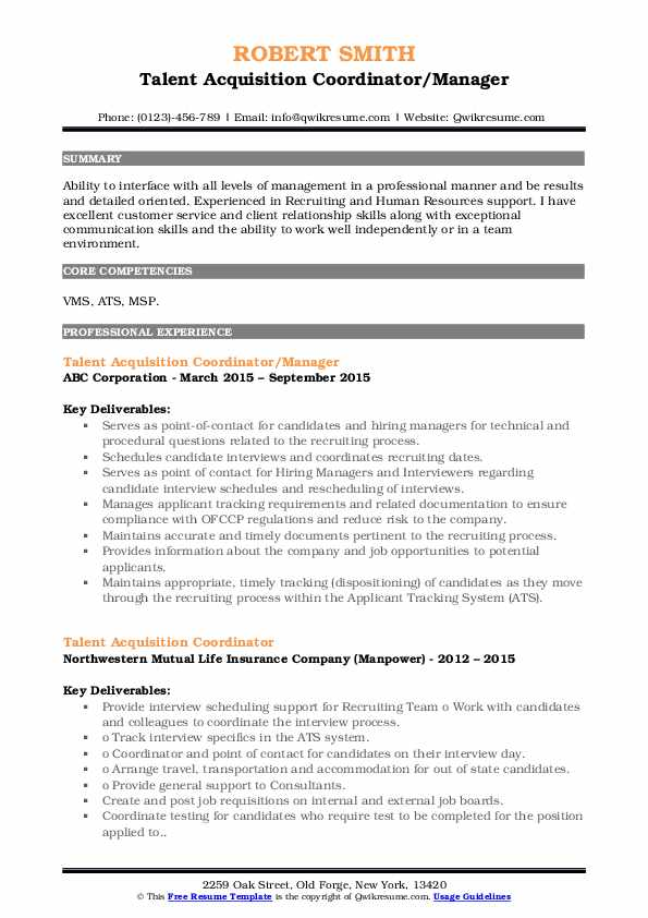 talent acquisition coordinator resume samples qwikresume pdf pharmaceutical objective Resume Talent Acquisition Coordinator Resume