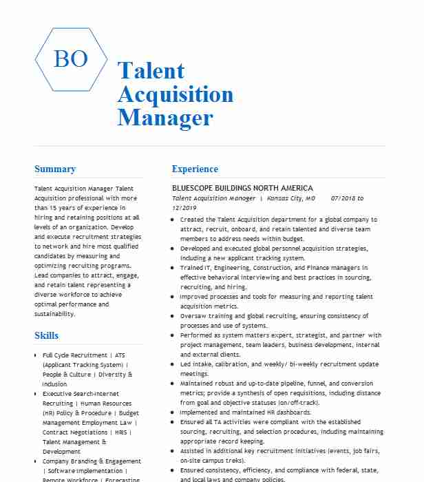 talent acquisition manager resume example livecareer director of for pastoral position Resume Director Of Talent Acquisition Resume