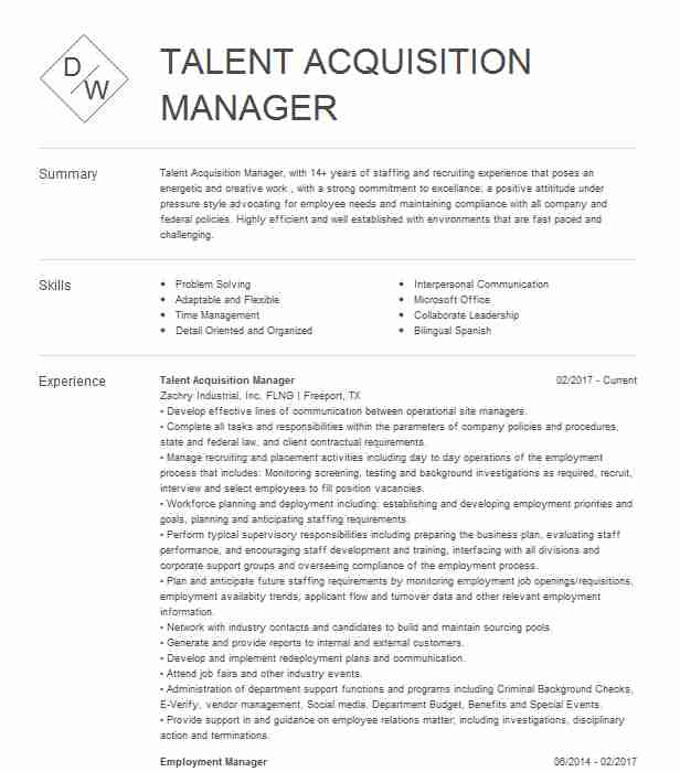 talent acquisition manager resume example livecareer management sample examples Resume Talent Management Resume Sample