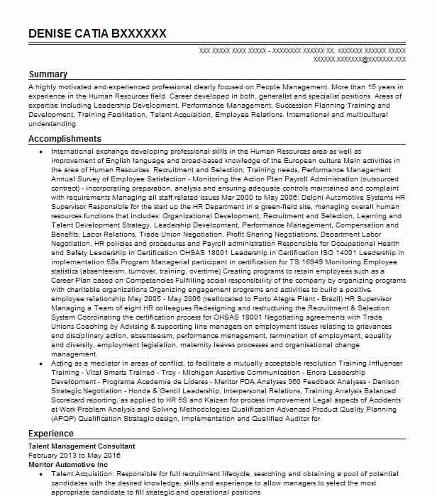 talent management consultant resume example the nielson group celina sample Resume Talent Management Resume Sample