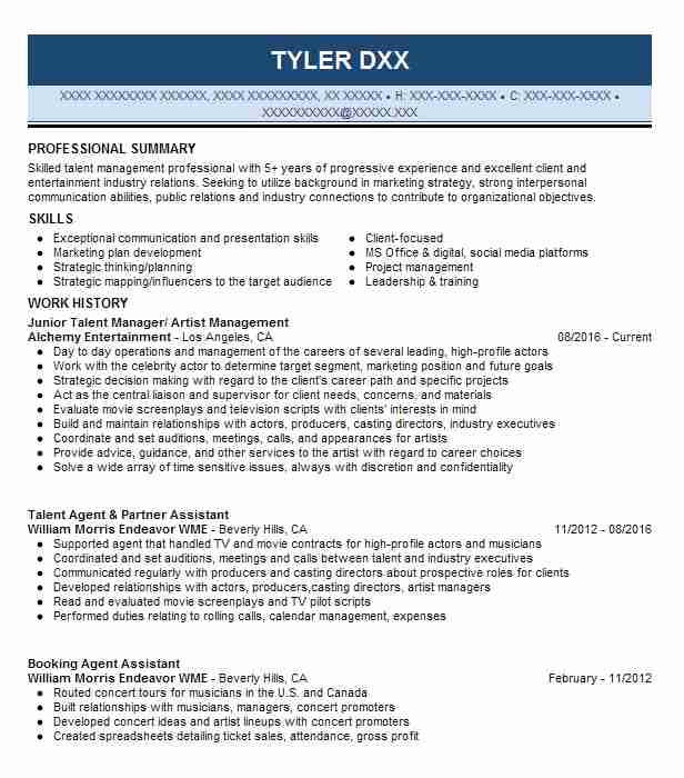 talent manager artist management resume example alchemy entertainment los angeles sample Resume Talent Management Resume Sample