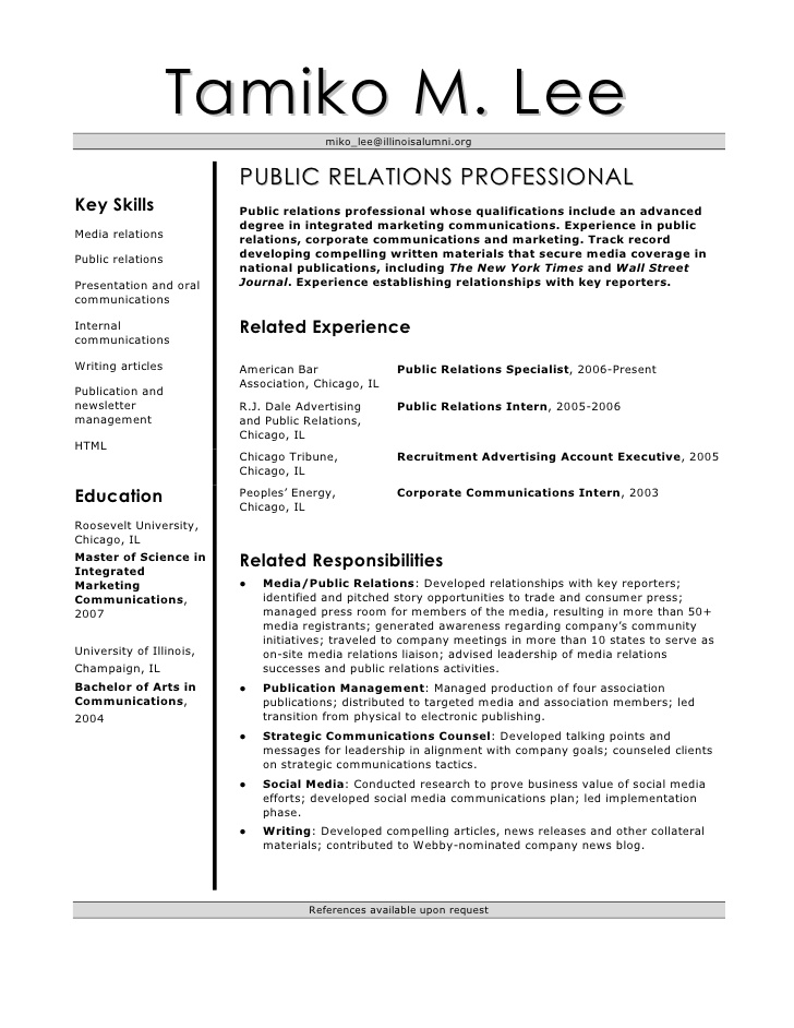 tamiko resume public relations student lees objective examples for every profession of Resume Public Relations Student Resume