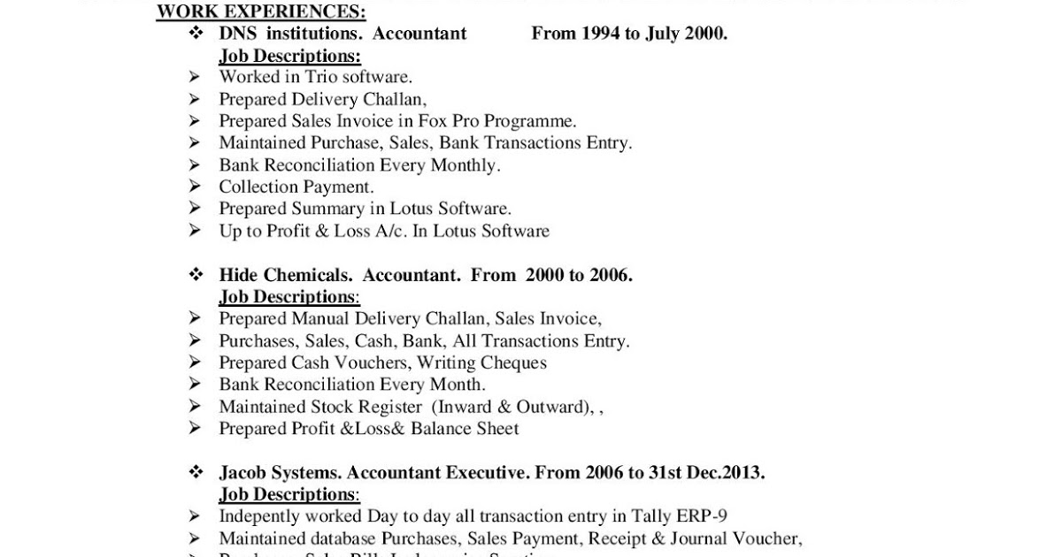 tax accountant cv format free resume samples projects now tally experience gunnam Resume Tally Experience Resume Format