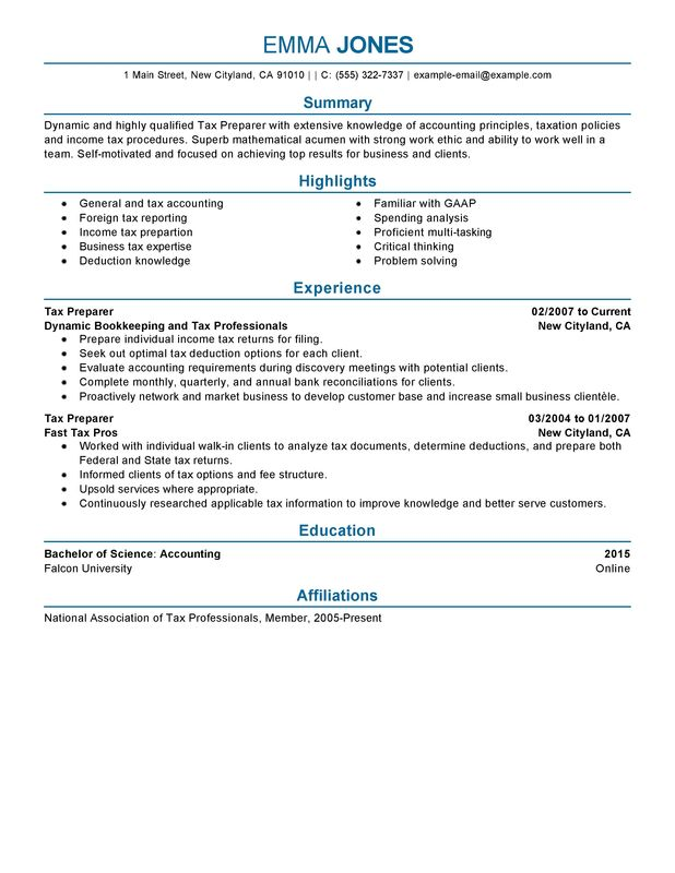 tax preparer resume examples free to try today myperfectresume job description accounting Resume Tax Preparer Job Description Resume