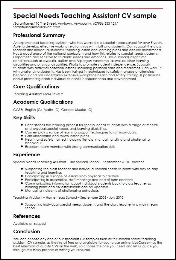 teacher aide resume objective unique special needs teaching assistant cv example examples Resume Resume Summary Examples For Teacher Assistant