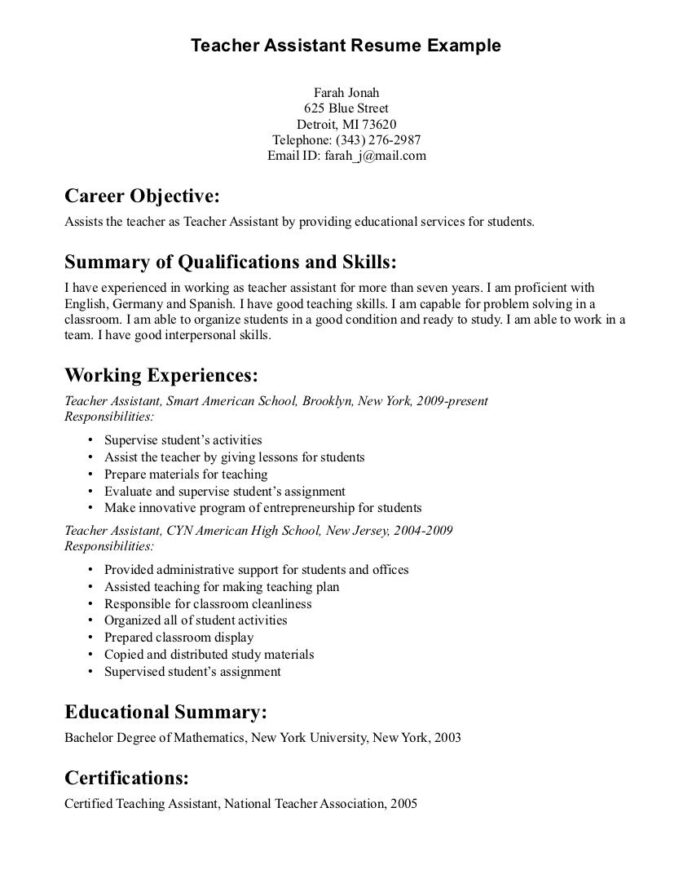 teacher assistant resume objective free templates examples teaching job samples summary Resume Resume Summary Examples For Teacher Assistant