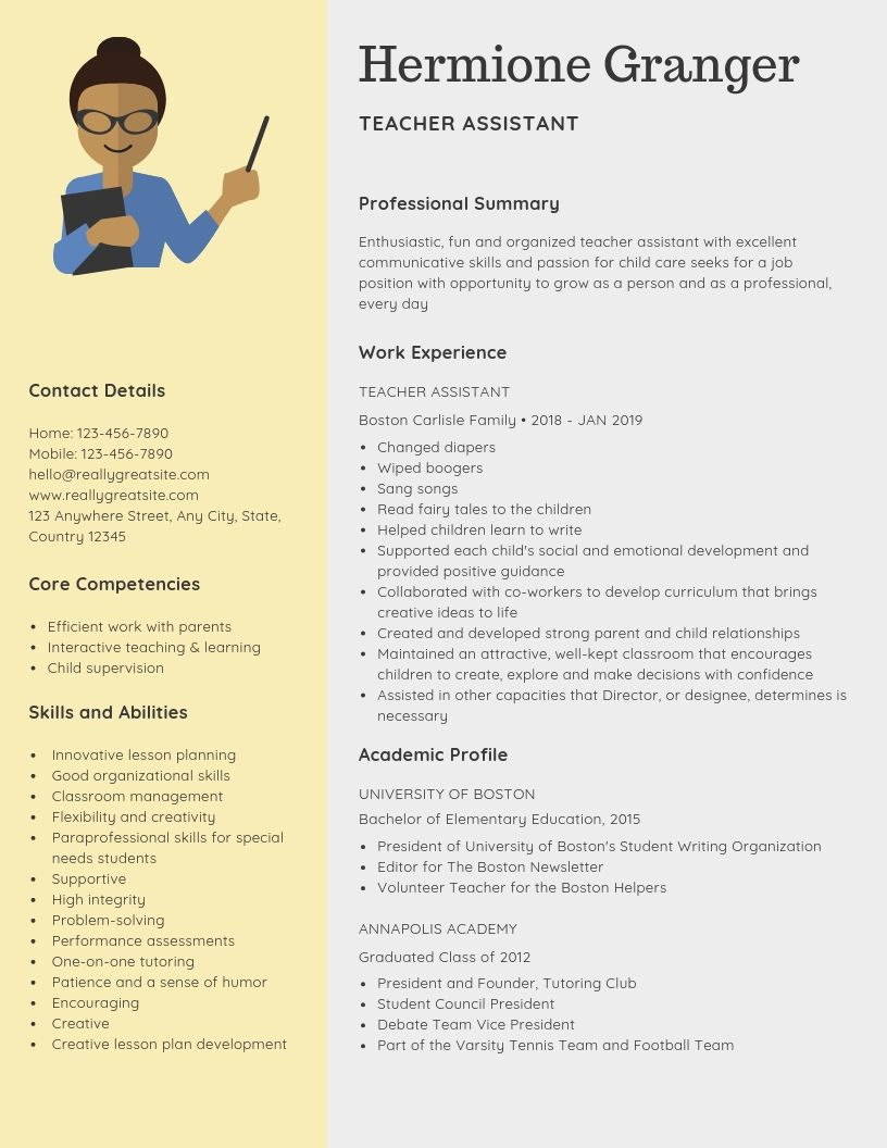 teacher assistant resume samples templates pdf word resumes bot examples teachers aide Resume Resume Summary Examples For Teacher Assistant