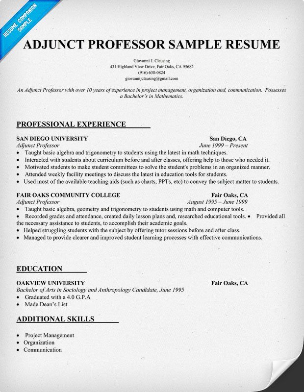 teacher resume and training writing tips teaching college adjunct professor for position Resume Resume For Adjunct Professor Position