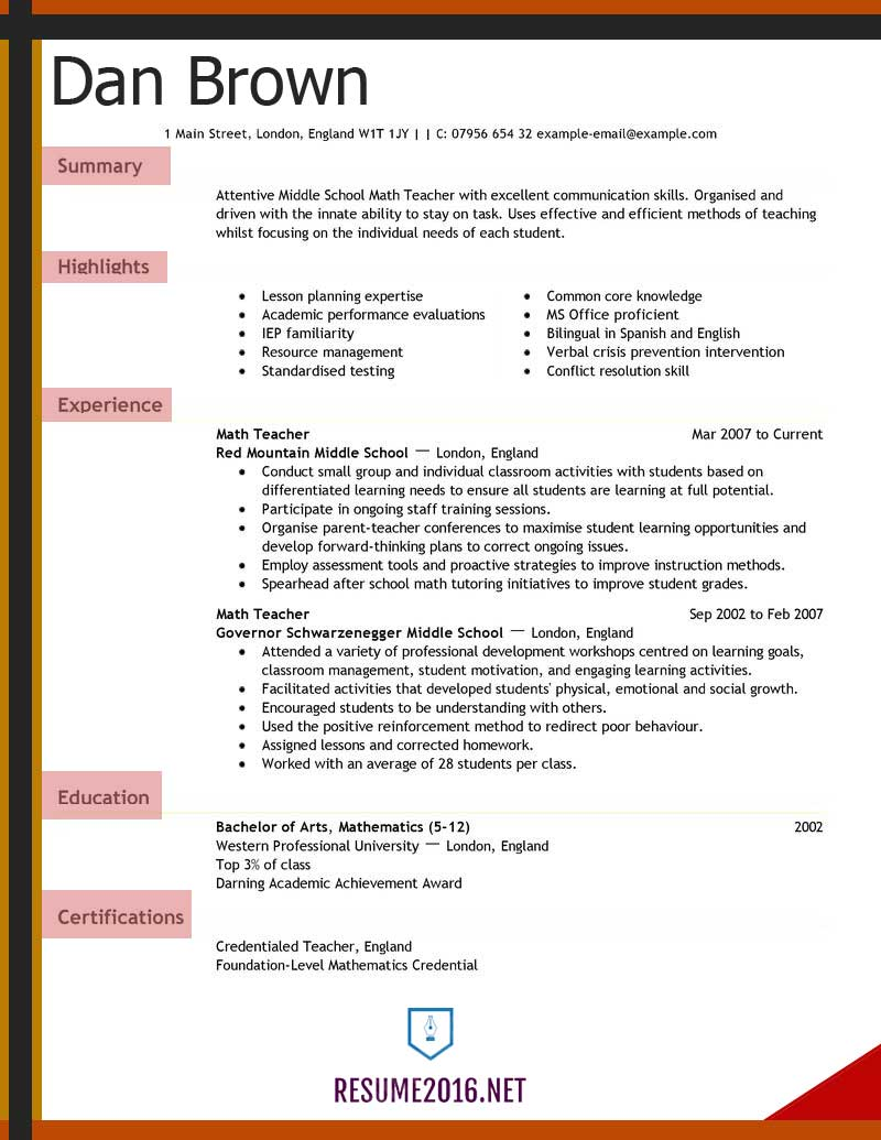 teacher resume examples for elementary school maths word format example food service Resume Maths Teacher Resume Word Format