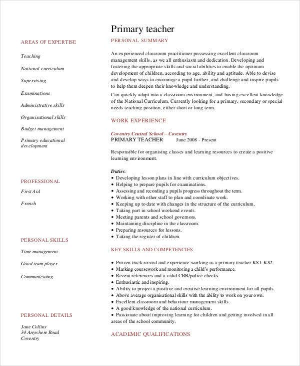 teacher resume sample free word pdf documents premium templates template primary awesome Resume Teacher Resume Template Download