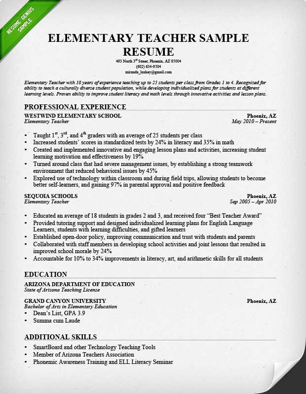teacher resume samples format examples elementary teachers with medical science liaison Resume Resume Examples Elementary Teachers