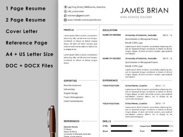 teacher resume template with cover letter and reference instant teaching resources p0 rop Resume Teacher Resume Template Download