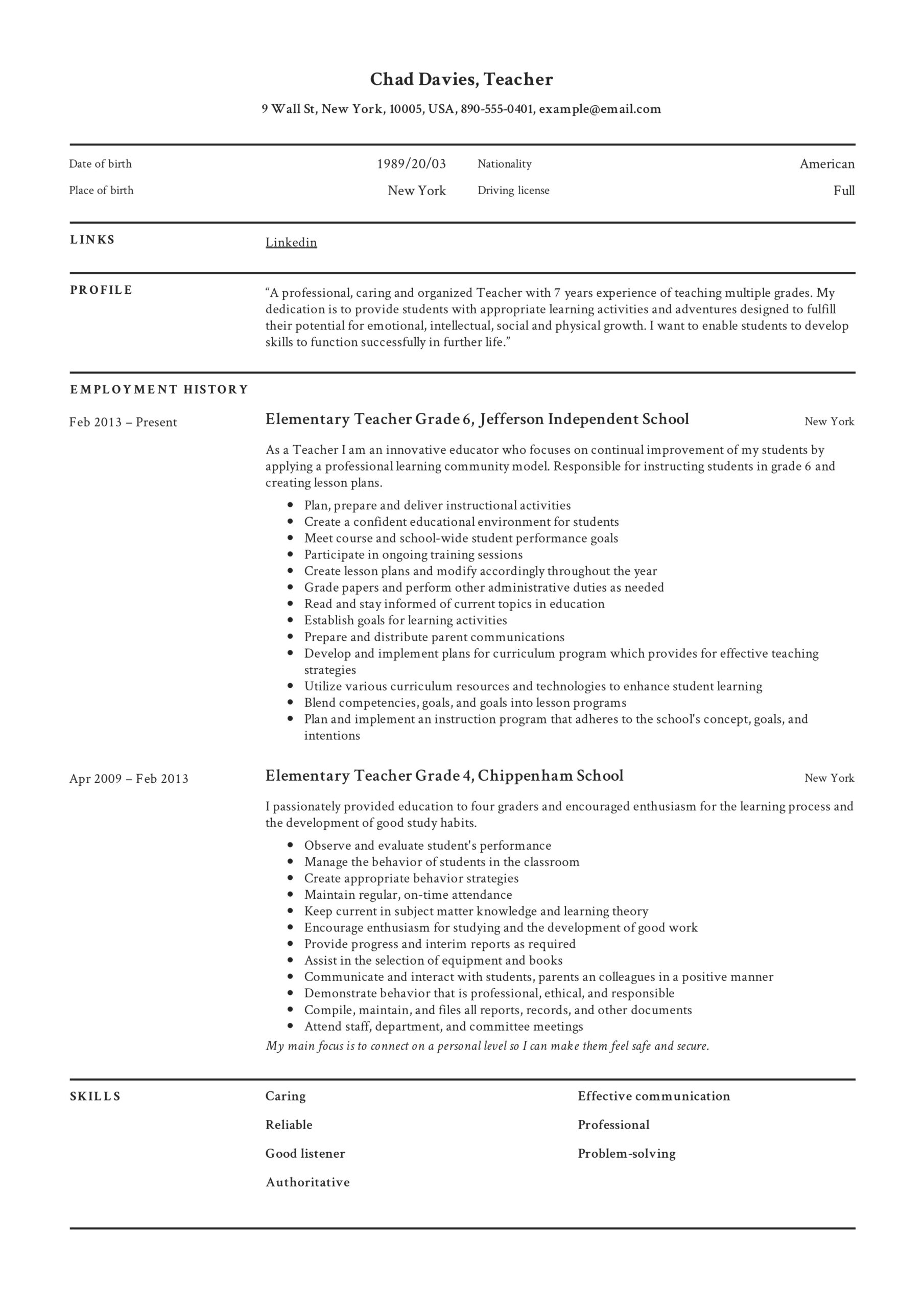 teacher resume writing guide examples pdf elementary teachers sample canva templates Resume Resume Examples Elementary Teachers