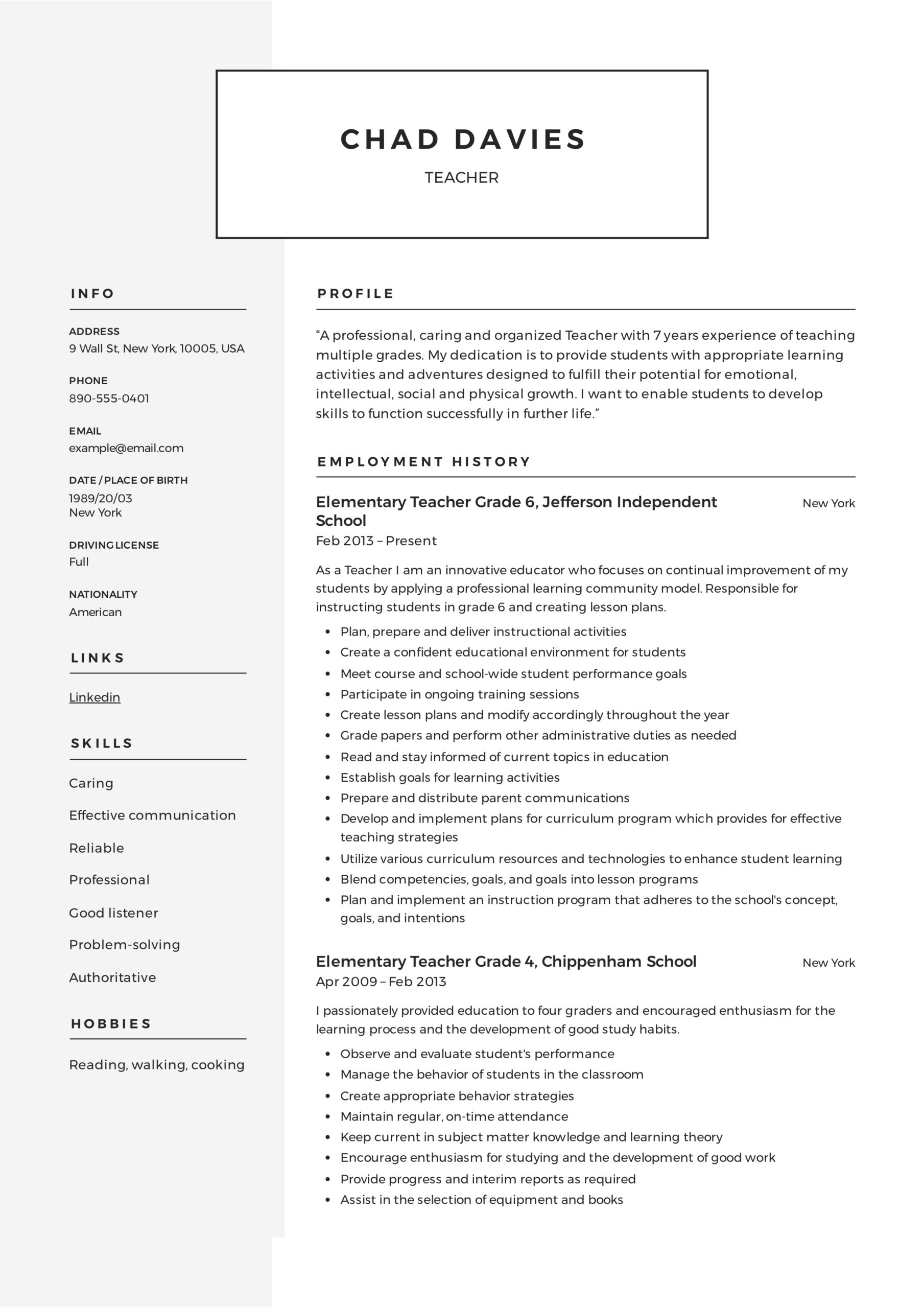 teacher resume writing guide examples pdf elementary teachers sample quick and easy maker Resume Resume Examples Elementary Teachers