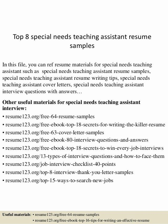 teaching assistant on resume new top special needs samples writing tips administrative Resume Sample Resume Special Needs Assistant