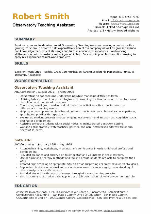 teaching assistant resume samples qwikresume summary examples for teacher pdf Resume Resume Summary Examples For Teacher Assistant