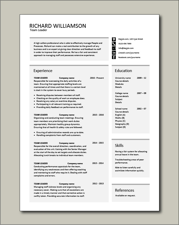 team leader resume supervisor cv example template sample jobs work for voice process free Resume Resume For Voice Process