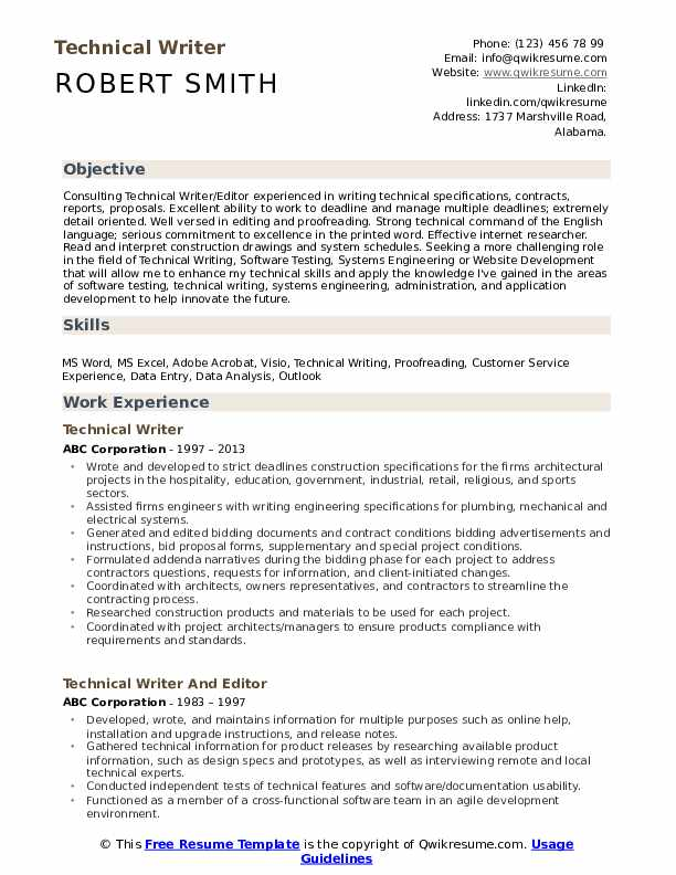 to make technical writer resume get job template for zoology teacher strong objective Resume Technical Writer Resume Template