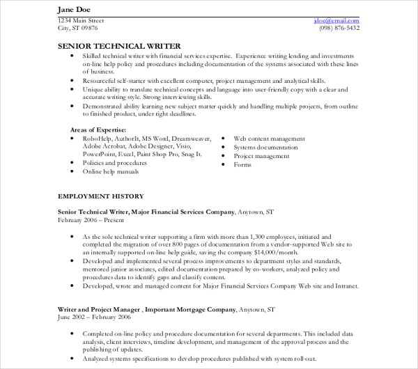 technical writer resume templates pdf free premium senior template objective for medical Resume Senior Technical Writer Resume
