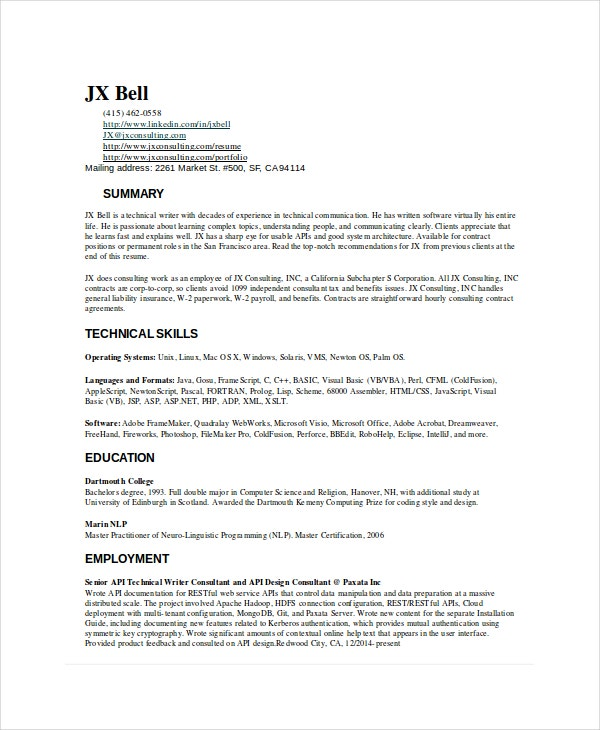 technical writer resume templates pdf free premium template experienced trucker actually Resume Technical Writer Resume Template