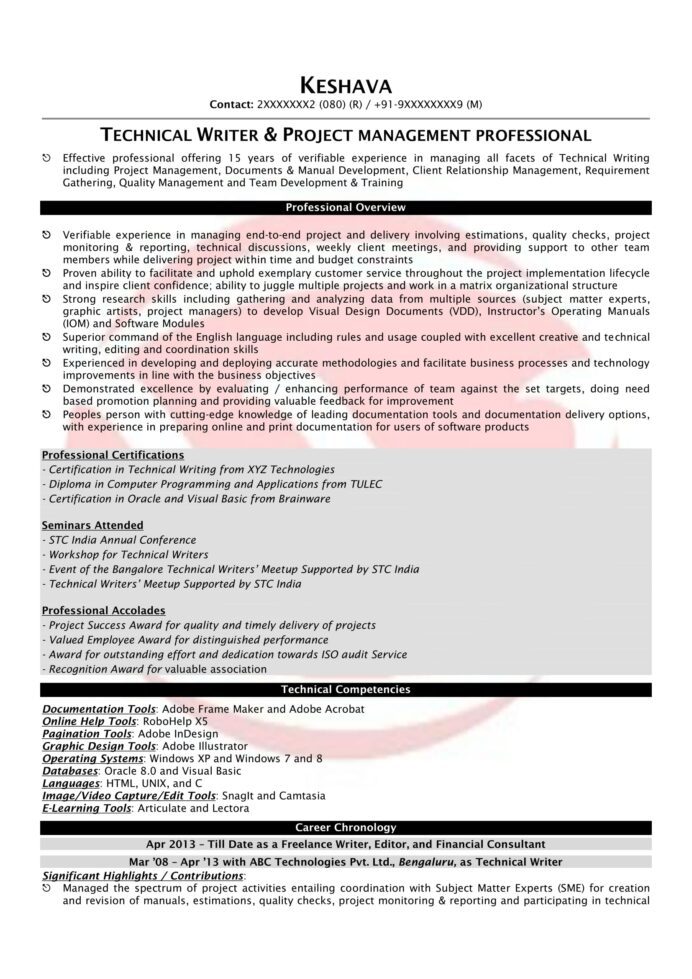technical writer sample resumes resume format templates template can you make on Resume Technical Writer Resume Template