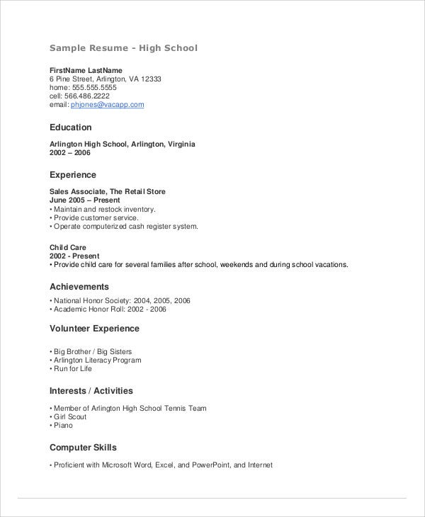 teenage resume templates pdf free premium for someone with little job experience high Resume Resume For Someone With Little Job Experience
