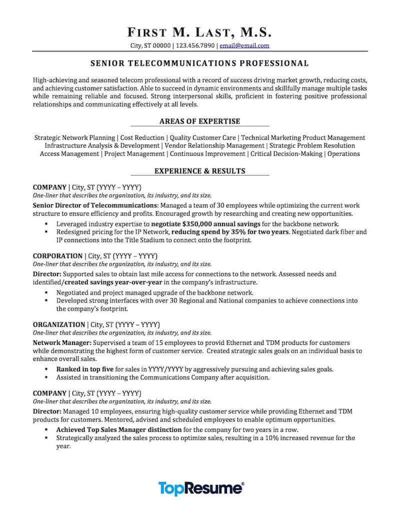 telecommunications resume sample professional examples topresume areas of expertise Resume Areas Of Expertise Resume
