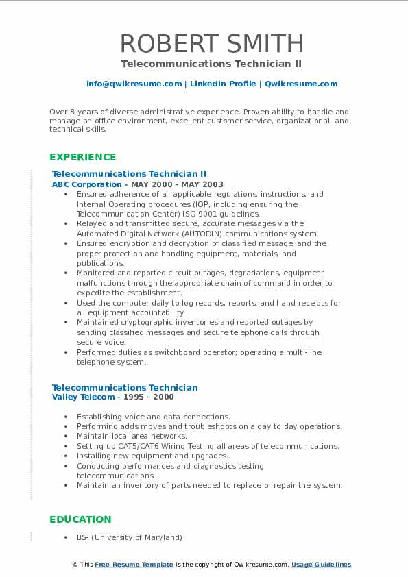 telecommunications technician resume samples qwikresume voice and data pdf describing Resume Voice And Data Technician Resume